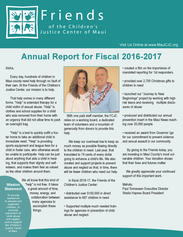 Friends of the Children's Justice Center Annual Report